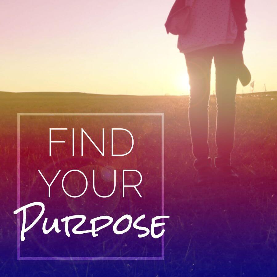 Find your purpose written on nature image with woman standing