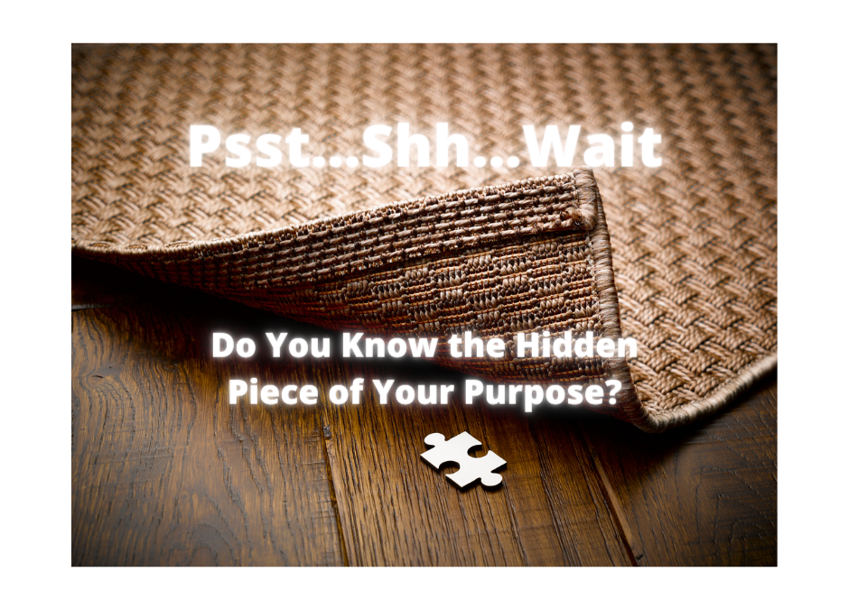 Puzzle piece under rug. Do you know the hidden piece of your purpose?